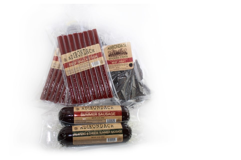 a combo pack including jerky, sausage, and meat sticks